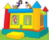Bounce Castle Kids — Stock Vector