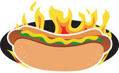 Flaming Hot Dog — Stock Vector
