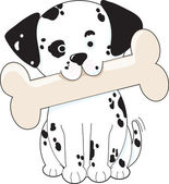 Dalmatian with Bone — Stock Vector