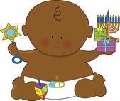 Baby Hanukkah Black — Stock Vector