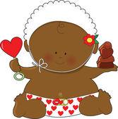 Baby Valentines Black — Stock Vector