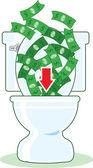 Money down the Toilet — Stock Vector