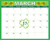 St. Patricks  Day Calendar — Stock Vector
