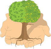 Tree in Hands — Stock Vector