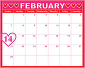 Valentines Day Calendar — Stock Vector