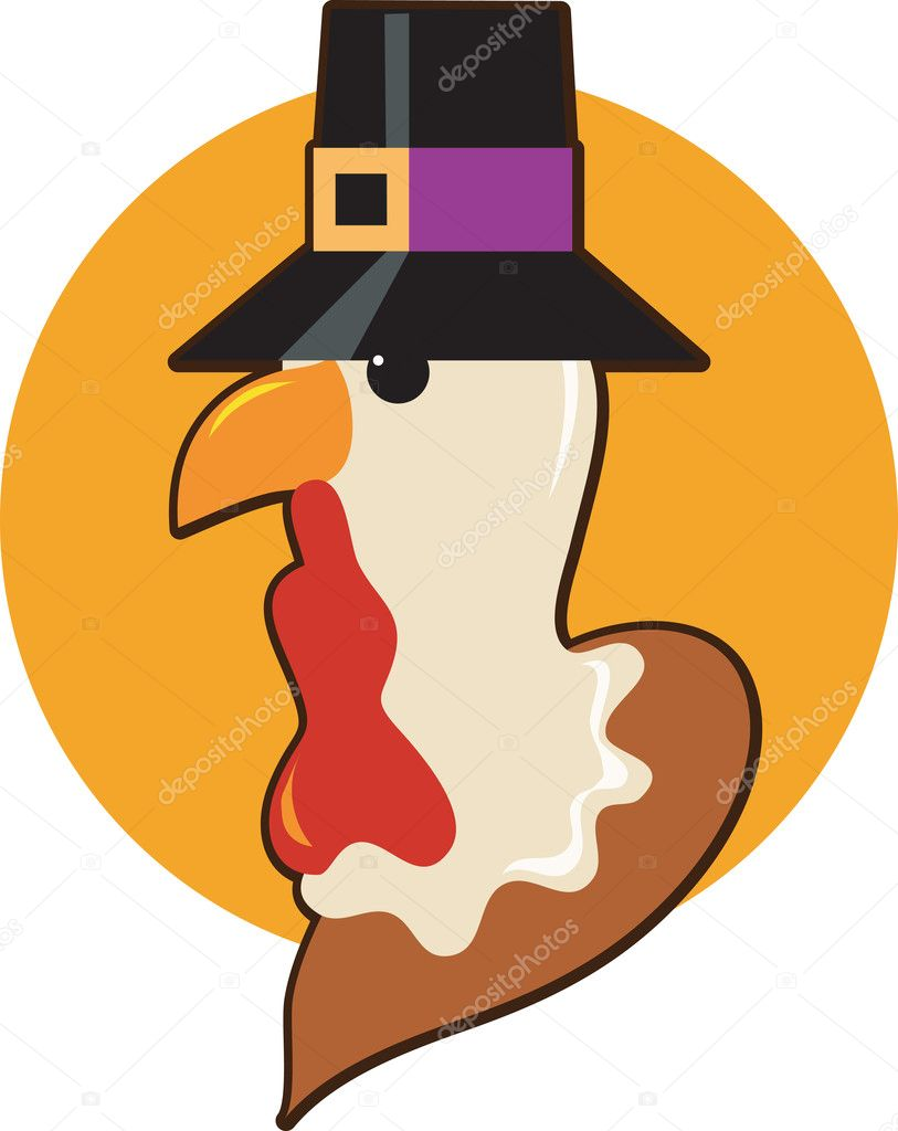 A Thanksgiving turkey with a pilgrim hat — Stock Vector #7177751