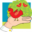 Bird in Hand - Stock Vector
