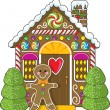 Gingerbread House and Man — Stock Vector