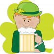 Leprechaun and Beer — Stock Vector