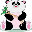 Little panda and bamboo  — Stock Vector