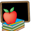 Royalty-Free Stock Vector Image: A juicy red apple is standing on the books
