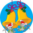 Christmas Bell Mice — Stock Vector