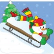Snowman Sled — Stock Vector