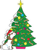 Doggie Christmas Tree — Stock Vector