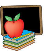 多汁的红苹果站在书上 — 图库矢量图片