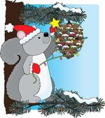 Squirrel Christmas — Stock Vector