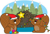 Beaver Christmas — Stock Vector