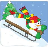Snowman Sled — Stock Vector