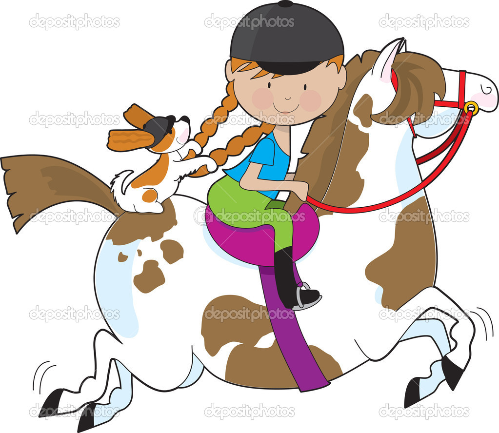 A little girl riding a painted pony with a Cavalier King Charles Spaniel sitting behind her and holding on to her braids   Stock Vector #7191294
