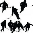 Hockey Silhouettes — Stock Vector