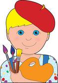 художник ребенка мальчик — Cтоковый вектор