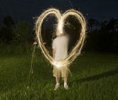 Heart Shape from Sparklers — Stockfoto