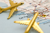 Two Planes Over San Francisco — Stock Photo