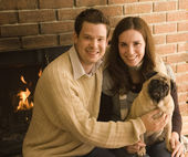 Couple and Their Dog — Stock Photo