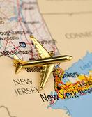 Plane Over New York — Stock Photo