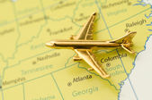 Plane Over Austin Texas. Map is Copyright and Trademark Free, Downloaded off www.nationalatlas.gov — Stock Photo