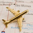Plane Over Des Moines, Iowa — Stock Photo