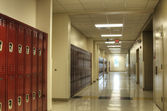 Hallway with Lockers at High School. — Stock Photo