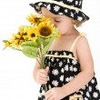 Baby Girl with Sunflowers — Stock Photo #7505997