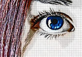 Blue eye and red hair — Stock Photo