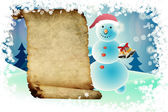 Snowman and scroll — Stock Photo