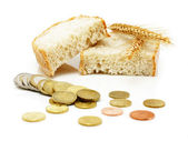 Euro coins and brad slices with grain ears — Stock Photo