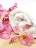 Czysty ręcznik i orchidea — Zdjęcie stockowe