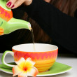 Woman pouring herself a cup of tea — Stock Photo
