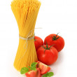 Italian pasta and tomatoes — Stock Photo
