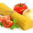 Italian spaghetti and vegetables — Stock Photo
