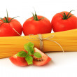 Italian spaghetti and tomatoes — Stock Photo