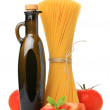 Italian spaghetti, oil and tomatoes — Stock Photo