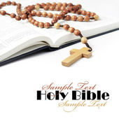 Bibbia con rosario — Foto Stock