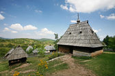 Traditional serbian houses in ethno-village — Stock Photo