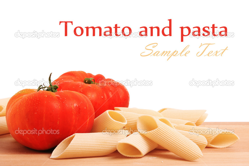 Italian pasta and tomatoes with copy space  Stock Photo #7112863