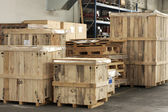 Cargo in big wooden boxes — Stock Photo