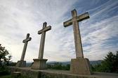 Three stone crosses — 图库照片