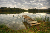 Landspace photo of still lake — Stock Photo