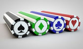 Four rows of poker chips — Stock Photo