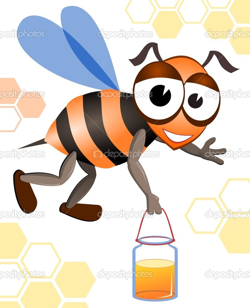 Illustration of the honeybee. Vector image of yellow bee.  — Stock Vector #7150831